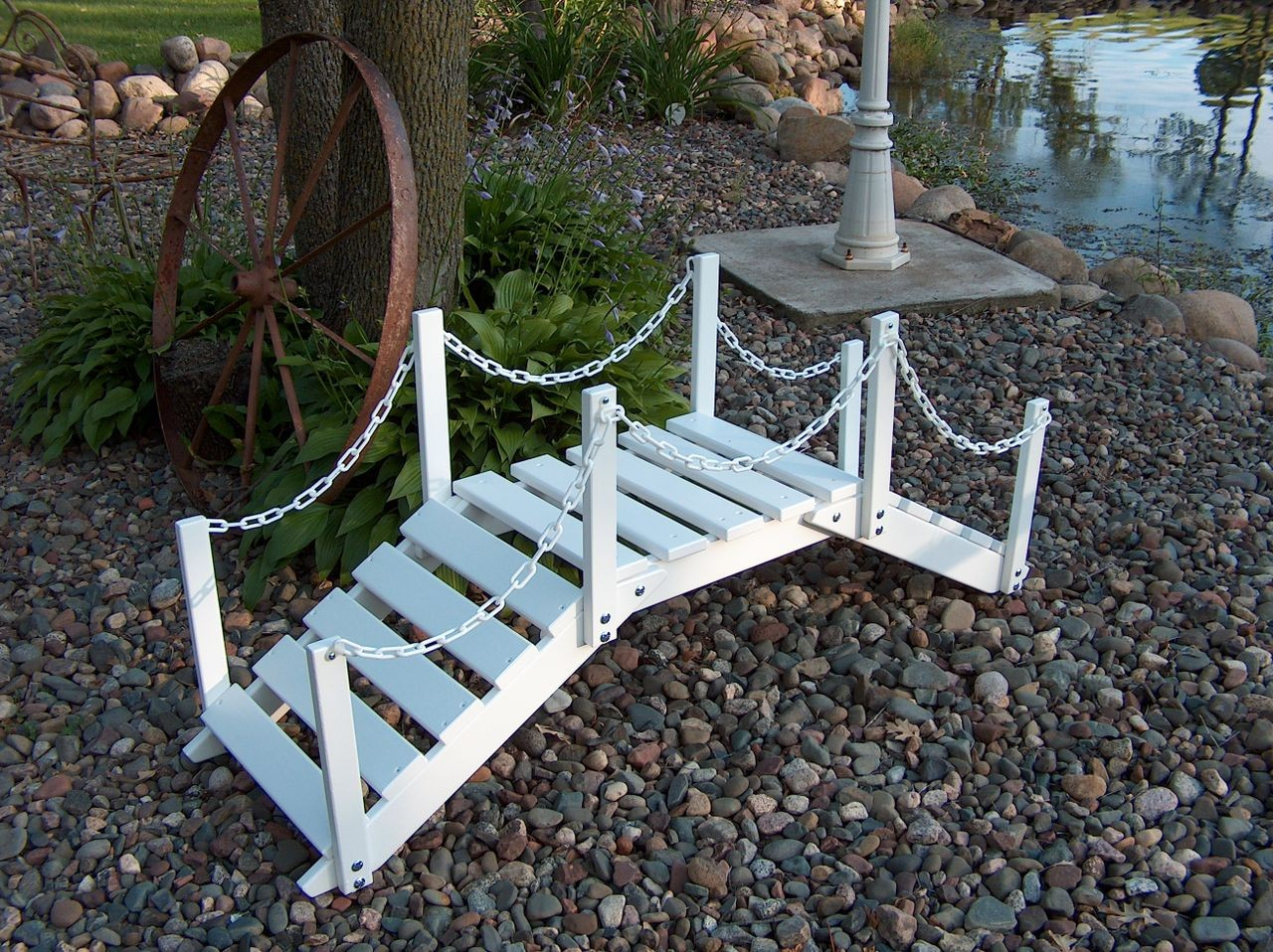 Decorative garden bridge w posts chain green epic for Decorative fish pond bridge