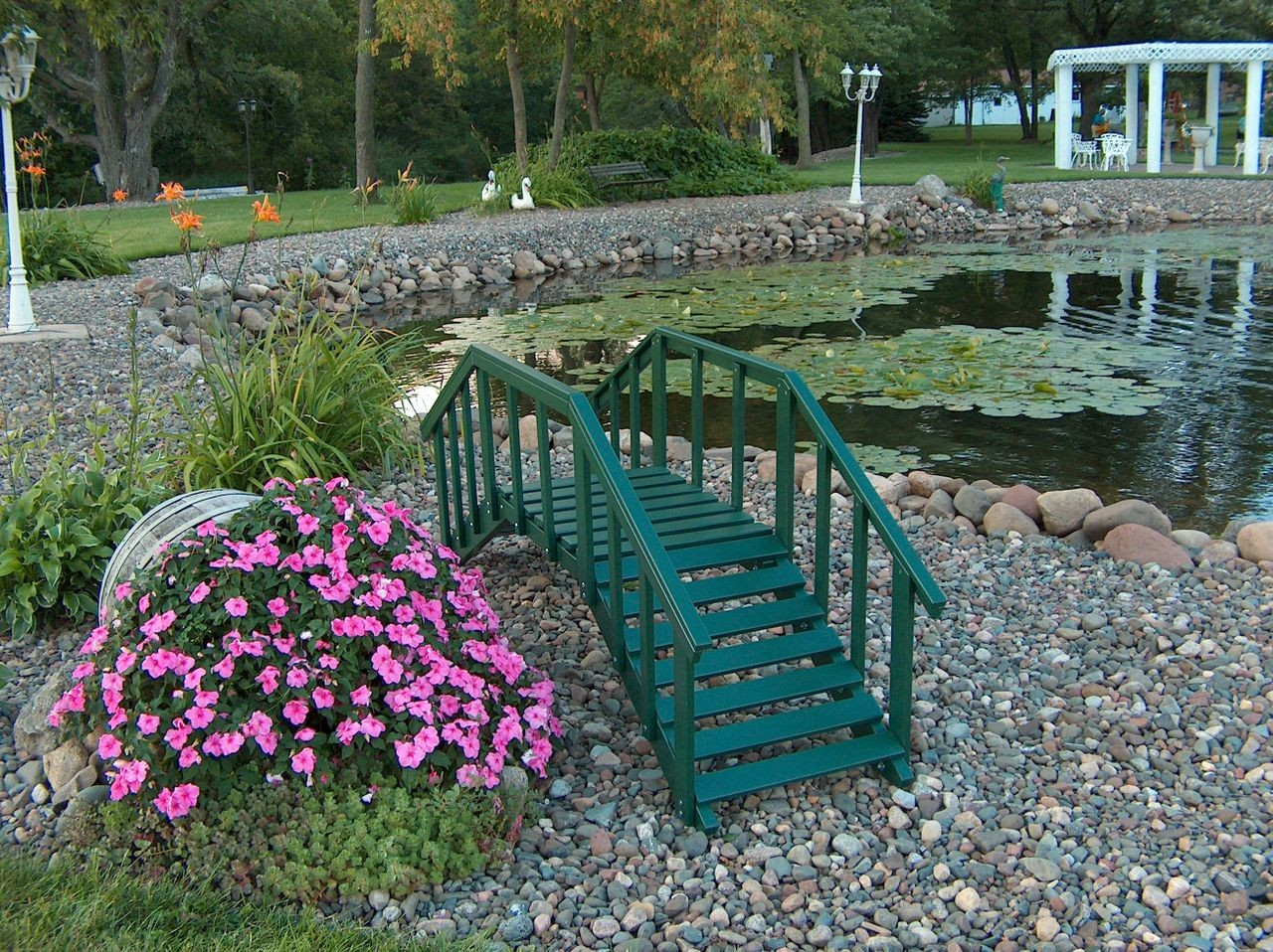 Decorative Garden Bridge w/ posts & rails - Green | Epic Greenhouses