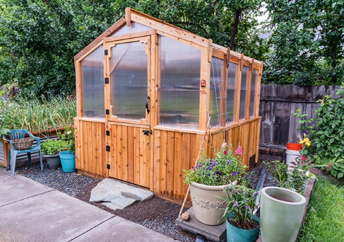 Outdoor Living Today - 8x8 Cedar Greenhouse Includes Heat Functioning Roof Vent