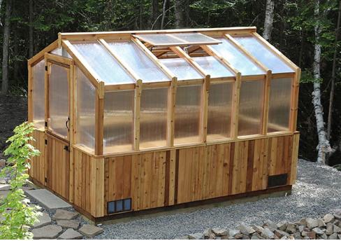 Outdoor Living Today - 8x12 Cedar Greenhouse Includes Heat Functioning Roof Window Vents
