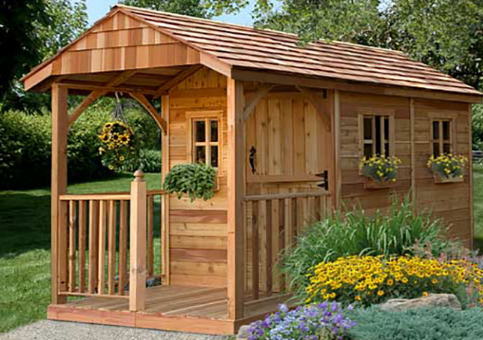 Outdoor Living Today - 8x12 Santa Rosa with Dutch Door and 3 Functional Windows with Screens