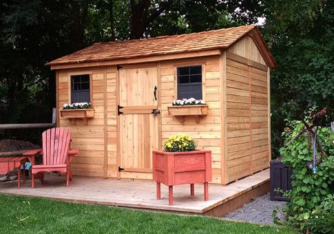Outdoor Living Today   12x8 Cabana Garden Shed With Dutch Door U0026 2  Functional Windows With Screens