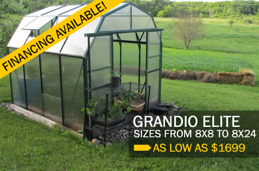 Grandio Elite greenhouses, as low as $78.39 per month.
