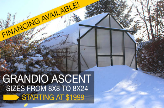 Grandio Ascent greenhouses, financing available